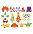 clown props set funny colorful booth elements vector image vector image
