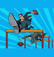 competition businessmen jump over barriers vector image