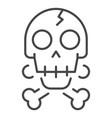 crack skull bone icon outline style vector image vector image