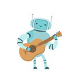 cute robot musician playing guitar musical vector image vector image