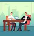 employee man and interviewer boss meeting in vector image vector image