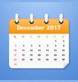 european calendar for december 2017 vector image