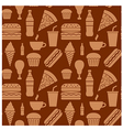 fastfood pattern brown2 vector image vector image