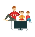 Father Playing Video Games With Kids Happy Family vector image vector image
