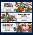 finance and investment banner with money currency vector image vector image
