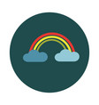 flat rainbow in clouds on white background vector image