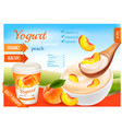 fruit yogurt with peach advert concept yogurt vector image vector image
