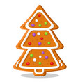 gingerbread christmas tree with cream on a white vector image vector image