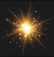 glowing starburst with sparkles and rays golden vector image