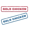 Gold Chicken Rubber Stamps vector image vector image