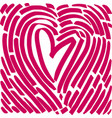 hand drawing heart in form a fingerprint vector image vector image
