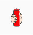 hand hold can male hand holding aluminium red vector image