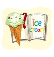 Ice cream cone and book vector image vector image