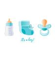 it s a boy newborn icon set 3d cartoon baborn vector image vector image