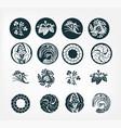 japanese chinese design heraldic badge set flower vector image