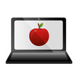 laptop computer with apple vector image vector image