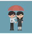 man and woman under a red umbrella vector image vector image