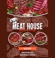 meat menu sketch banner for barbecue restaurant vector image