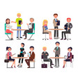 men and women around tables discuss work issues vector image vector image
