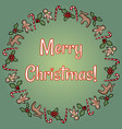 merry christmas holly and candies wreath vector image vector image