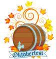 Oktoberfest design with keg vector image vector image