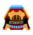 oktoberfest label with a pair of beer mugs icon vector image