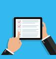 online survey in tablet checklist in form app vector image