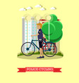 policeman with city bicycle vector image vector image