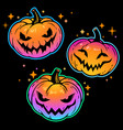set bright pumpkins for halloween with smiling vector image