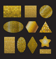 set golden mosaic ceramic forms vector image