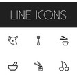 set of 6 editable food outline icons includes vector image