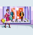 shopaholic girl vector image vector image