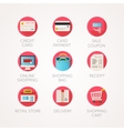 shopping icons set Modern flat colored vector image vector image