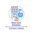short term insurance concept icon vector image vector image