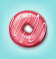 single pink donut vector image vector image