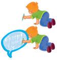 small boy draw a speech bubble vector image