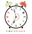 time for lunch healthy food on breakfast alarm at vector image vector image