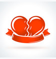 two broken hearts with ribbon st valentines day vector image