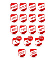 web button red discount set promotion vector image vector image