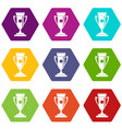 winning cup icon set color hexahedron vector image vector image