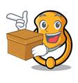 with box metal door knocker on character cartoon vector image