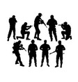 army ready to war silhouettes vector image