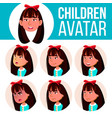 asian girl avatar set kid kindergarten vector image