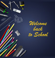 back to school with aids on blue background vector image vector image