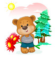 bear with a bouquet of flowers in nature vector image vector image