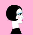 beautiful graphic retro style girl portrait on vector image
