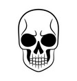 black and white of human skull vector image vector image
