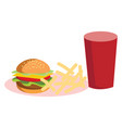 burger french fries and coke vector image