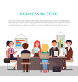 business meeting poster with workers at table vector image vector image