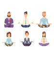 businessman yoga man and woman relaxing vector image